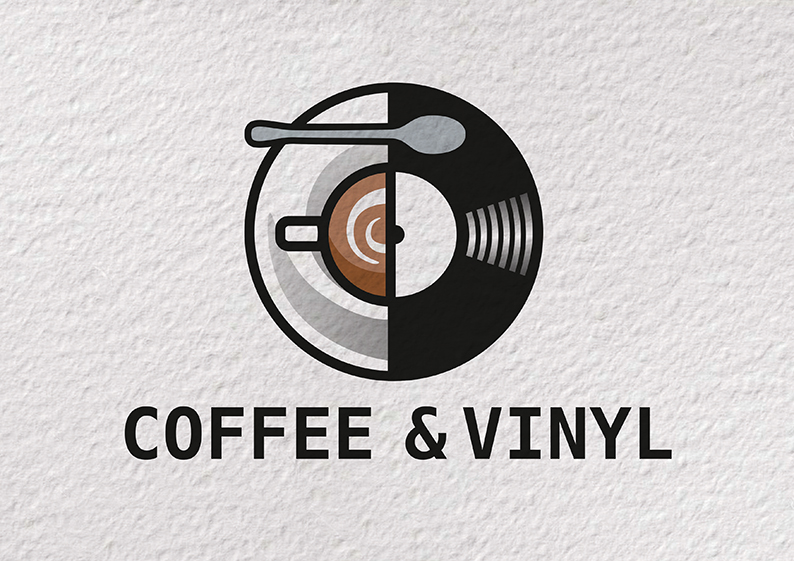 Coffee Amp Vinyl Caf 233 Logo Concept Lappindesign