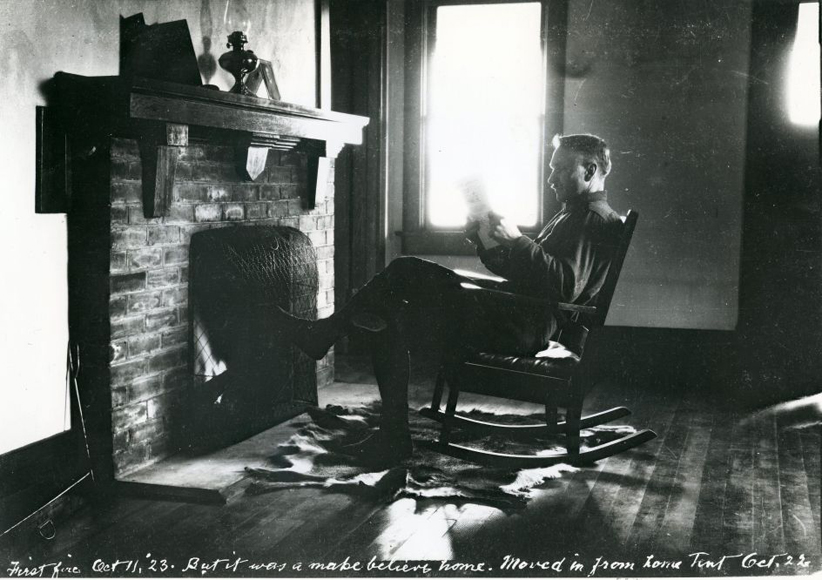 Laing in front of first f fire at new home - Baybrook, Oct 11 1923-2