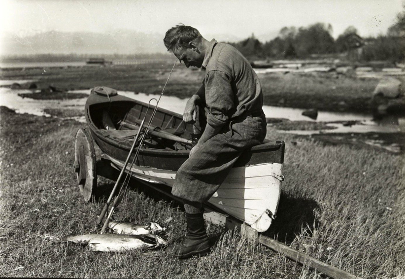 Laing with spring salmon April 26, 1929